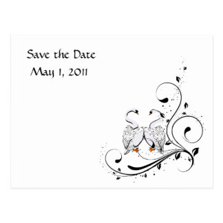 White Swan Save the Date Postcard