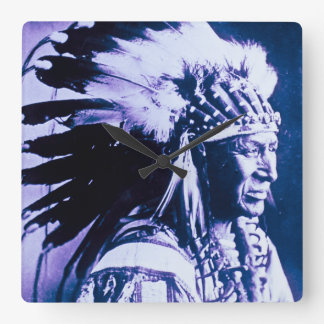 White Swan Sioux Indian Chief Vintage Wall Clocks