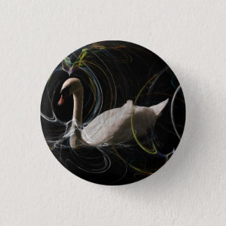 White Swan swimming  in a spiral coloured web. Pinback Button