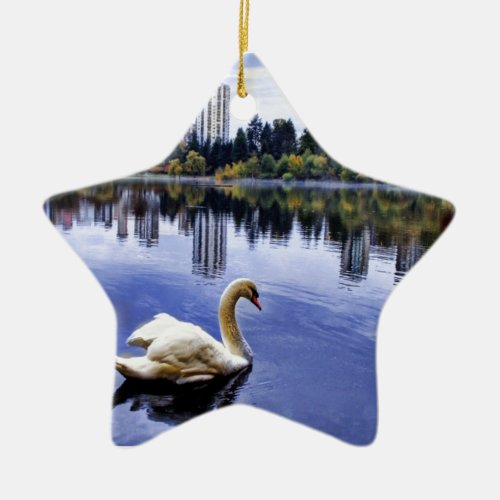 White Swan Swimming In The City Ceramic Ornament