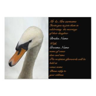 White Swan Wedding 5x7 Paper Invitation Card