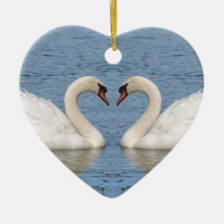 White Swans Ceramic Ornament
