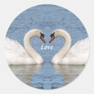 White Swans Classic Round Sticker