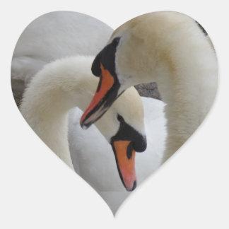 White Swans Heart Sticker