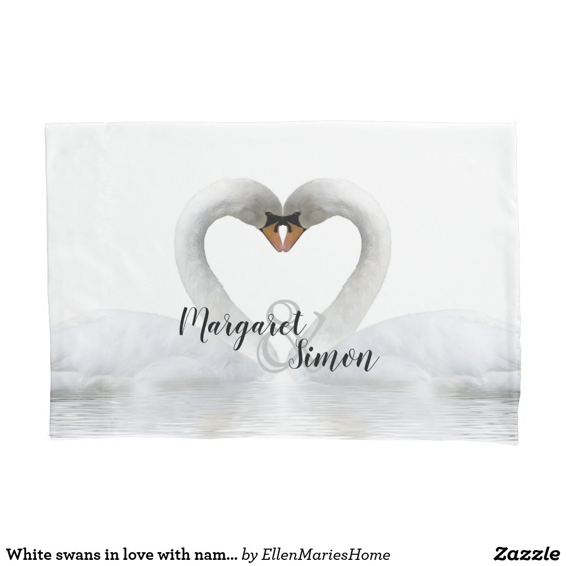 White swans in love with names wedding pillow case