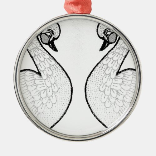 White swans metal ornament