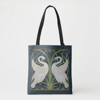 White Swans Nouveau Blue Tote Bag
