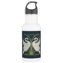 White Swans Nouveau Blue Water Bottle
