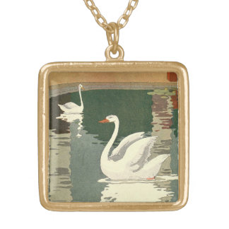 White Swans Reflected on Castle Lake Gold Plated Necklace