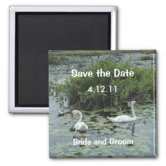 White Swans Save the Date Magnet