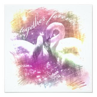 """white swans spring wedding invite"" card"