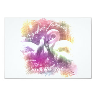 white swans together forever save the date card