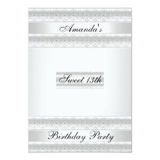 White sweet 13 Birthday Party  Invitation