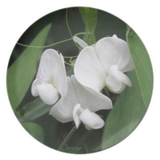 White Sweet Pea Plate