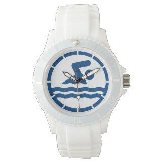 White Swim Coach Swimming Decal Wrist Watch