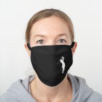 White Swinging Lady Golfer Black Cotton Face Mask