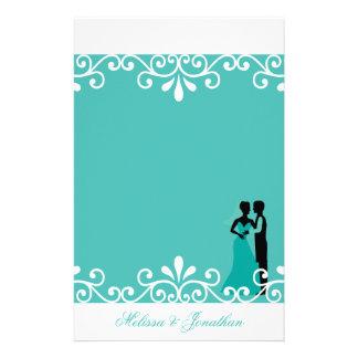 White Swirl Bride Groom Teal Elegant Wedding Stationery