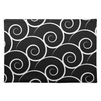 White Swirl Customizable Color Cloth Placemat