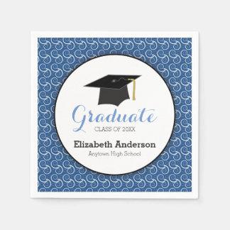 White Swirl on Blue, Personalized Graduation Napkin