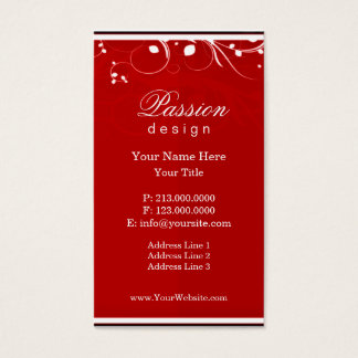 White Swirl on Red Business Card