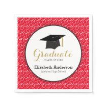 White Swirl on Red, Personalized Graduation Paper Napkin