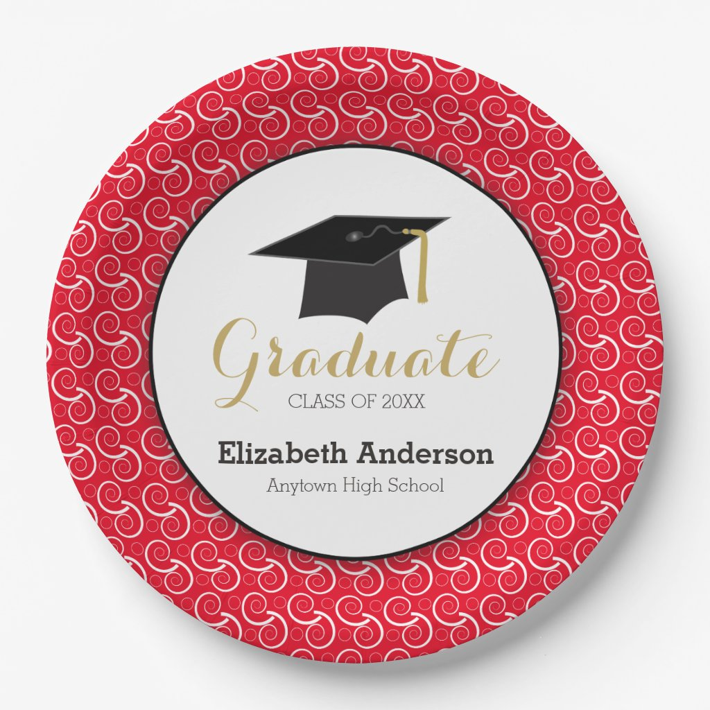 White Swirl on Red, Personalized Graduation