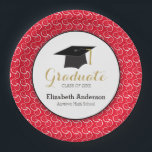 "White Swirl on Red, Personalized Graduation Paper Plate<br><div class=""desc"">This graduation paper (disposable) plate features a graphic of a graduation hat (mortarboard) and customizable text for: Class of,  Graduates Name,  Name of School. This paper plate is accented with a white swirl pattern on a red background.</div>"