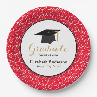 White Swirl on Red, Personalized Graduation Paper Plate