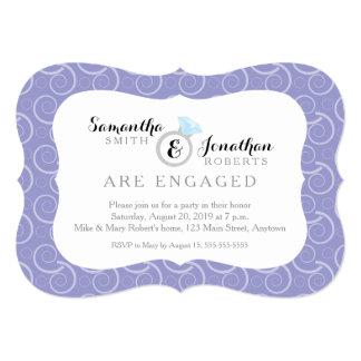 White Swirl Pattern, Light Purple Engagement Party Card