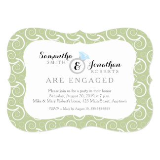 White Swirl Pattern, Olive Green Engagement Party Card