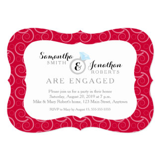White Swirl Pattern on Red Engagement Party Card