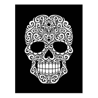 White Swirling Sugar Skull on Black Postcard