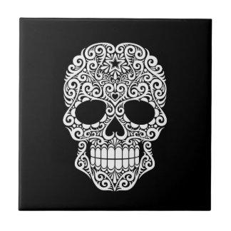 White Swirling Sugar Skull on Black Tile
