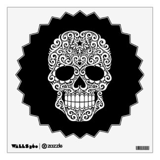 White Swirling Sugar Skull on Black Wall Sticker