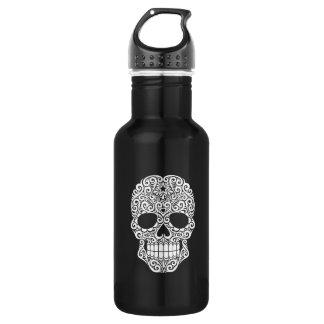 White Swirling Sugar Skull Stainless Steel Water Bottle