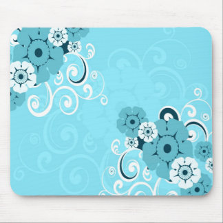 White Swirls And Flowers Blue Mousepad