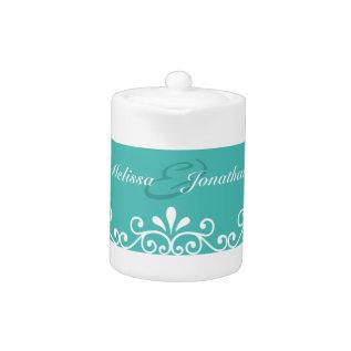 White Swirls Bride Groom Teal Elegant Wedding Teapot at Zazzle