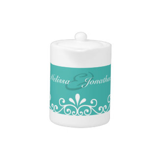 White Swirls Bride Groom Teal Elegant Wedding Teapot