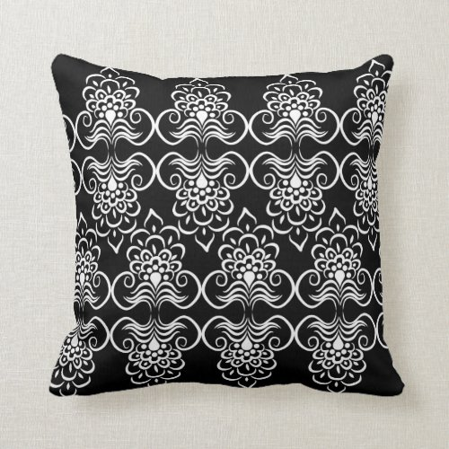 White Swirls Floral Pattern On Black Pillow