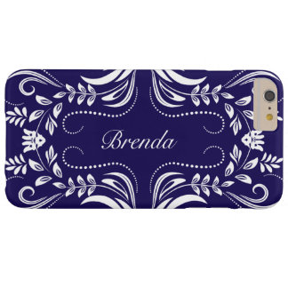 White Swirls Frame Custom Royal-Blue Background Barely There iPhone 6 Plus Case