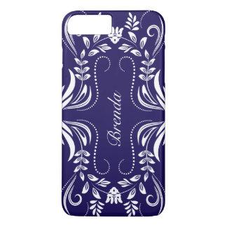 White Swirls Frame Custom Royal-Blue Background iPhone 7 Plus Case