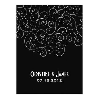 White swirls on black, subtle wedding invitation