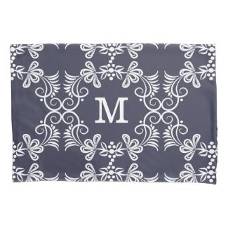 White Swirls On Blue Personalized Monogram Pillowcase
