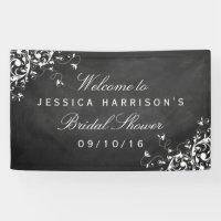 White Swirls On Chalkboard Bridal Shower Banner