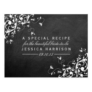 White Swirls On Chalkboard Bridal Shower Recipe Postcard