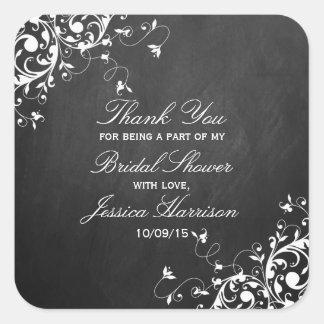 White Swirls On Chalkboard Bridal Shower Thank You Square Sticker