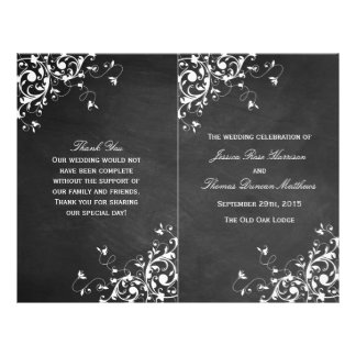 White Swirls On Chalkboard Wedding Bi-Fold Program Flyer