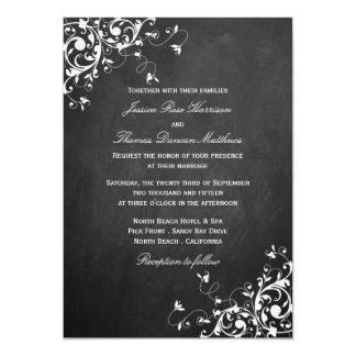 White Swirls On Chalkboard Wedding Invitations
