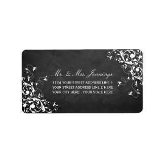 White Swirls On Chalkboard Wedding Labels