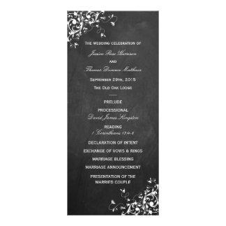 White Swirls On Chalkboard Wedding Program